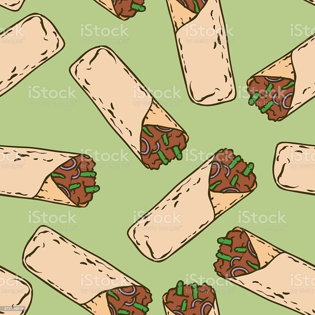 Seamless Pattern with Tasty Mexican Burrito vector art illustration