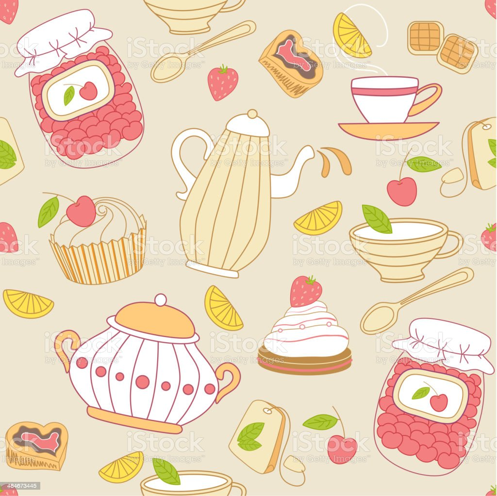 Seamless pattern with tea and fruits royalty-free stock vector art