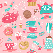 Seamless pattern with tea kettles. Cups, sweets, candies. Food and drinks. Hand drawn vector background made in cartoon flat style