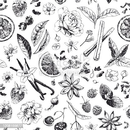 istock Seamless pattern with tea related items 1208155877