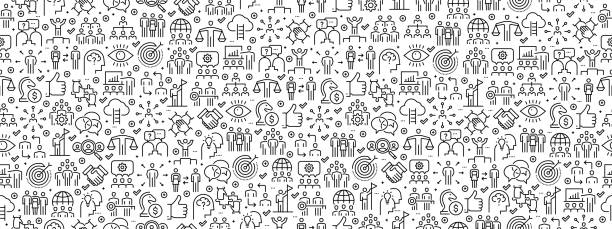 Seamless Pattern with Teamwork Icons Seamless Pattern with Teamwork Icons business stock illustrations