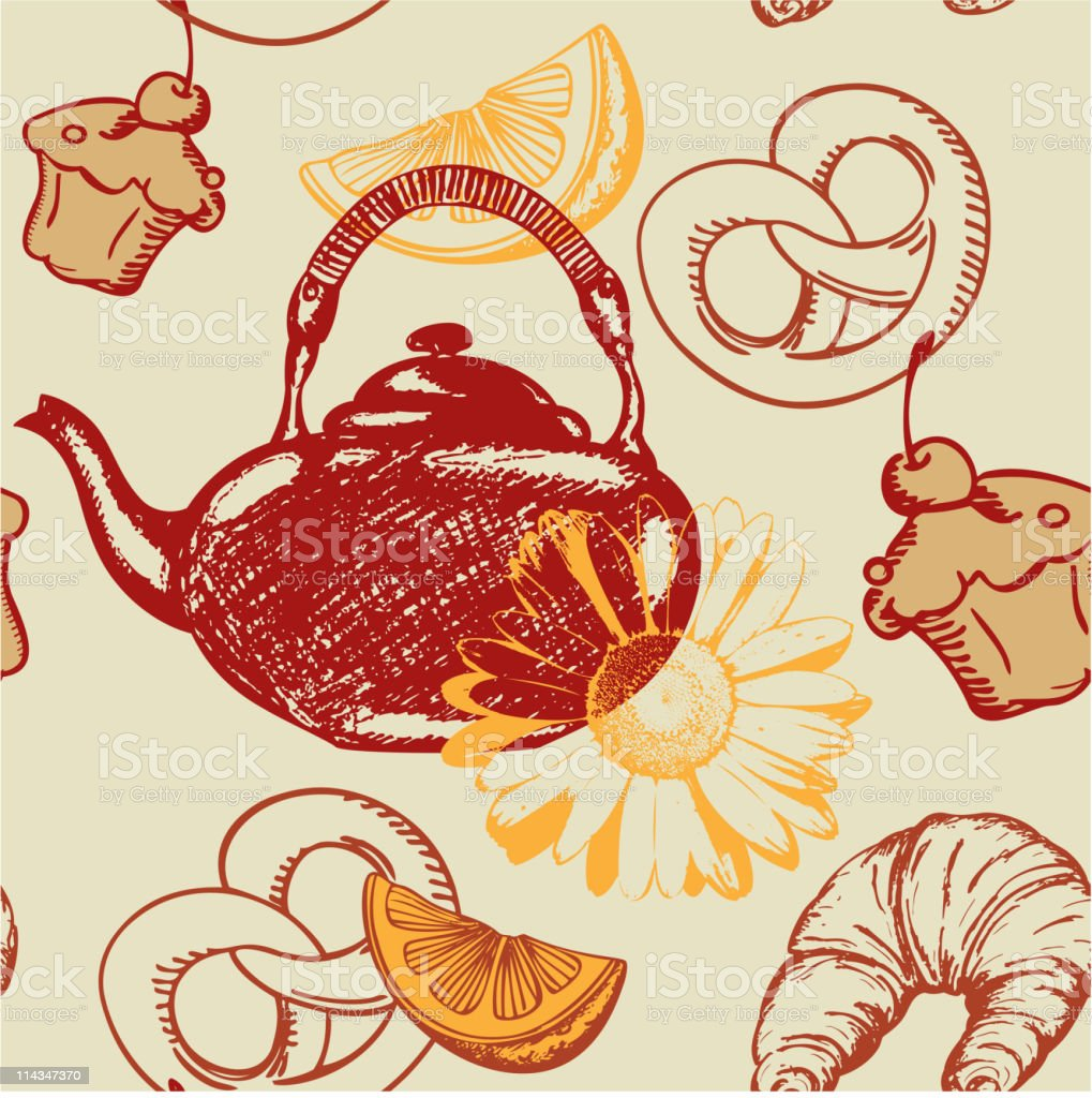 seamless pattern with teapot royalty-free stock vector art