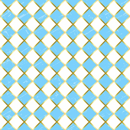 Seamless pattern with textured blue and white squares and golden outlines