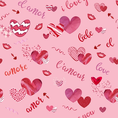 Seamless pattern with textured hearts, arrows, lips and word love. Vector illustration