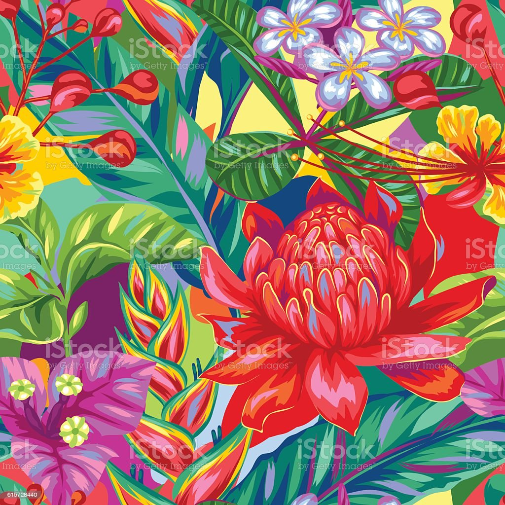Seamless pattern with Thailand flowers. Tropical multicolor plants, leaves and - ilustración de arte vectorial