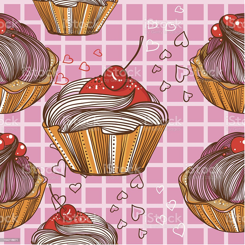 seamless pattern with the cake and hearts royalty-free stock vector art