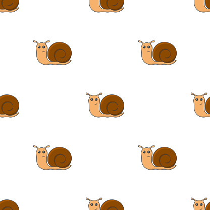 Seamless pattern with the image of a multicolored cartoon snail. The movement of snails in one direction. Isolated vector images on a pure white background.