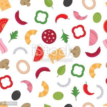 istock Seamless pattern with the ingredients for pizza.Food background. 614505524