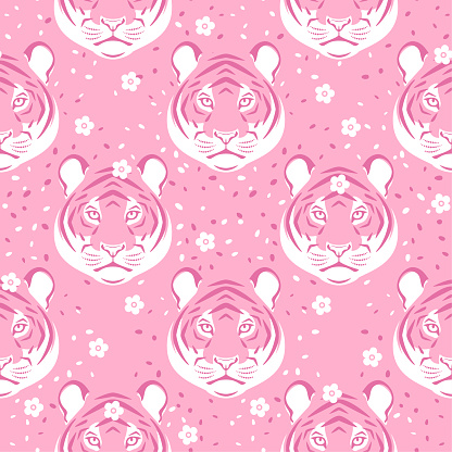 Seamless pattern with tiger head