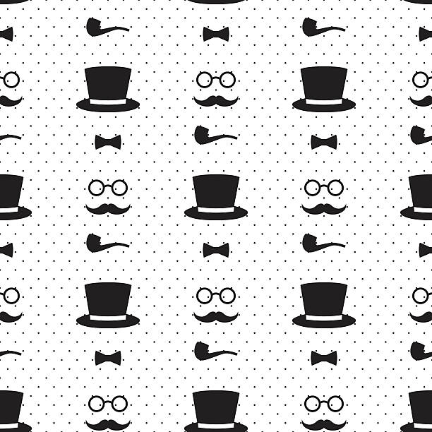 seamless pattern with tobacco pipe, bow tie, hat, mustache - old man smoking pipe cartoons stock illustrations, clip art, cartoons, & icons