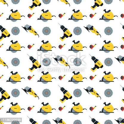 Seamless pattern with tools for building construction, home repair in wooden toolbox. Hammer and pliers, saw and tape measure, brush and file. Flat vector objects isolated on white background.