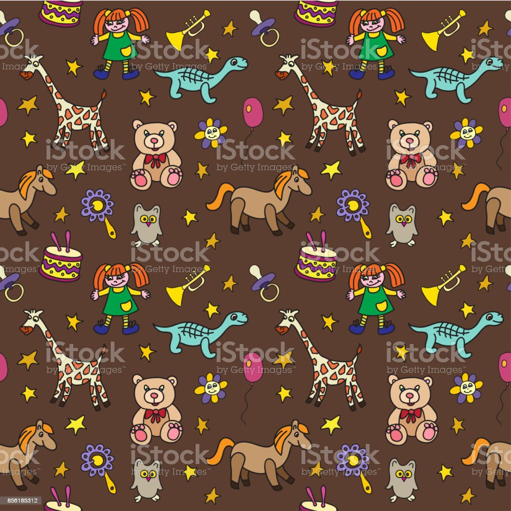 Seamless pattern with toys. vector art illustration