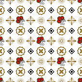 Seamless pattern with traditional Japanese decor elements