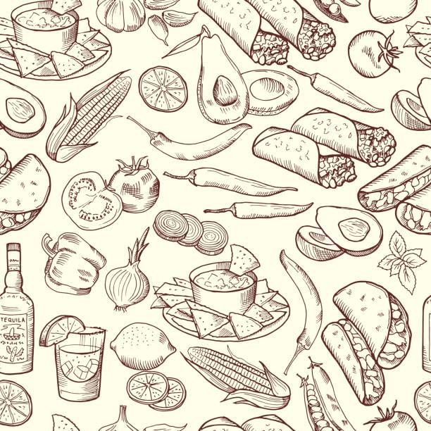 nahtlose muster mit traditionellen mexikanischen gerichten. vektor-bilder-set - mexikanisches essen stock-grafiken, -clipart, -cartoons und -symbole