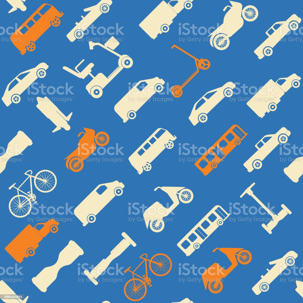 Seamless pattern with transport icons vector art illustration
