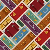 Seamless pattern with travel bags in various colors. Luggage suitcase and bag. Cool detailed vector illustration pattern.