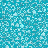 Seamless pattern with popular travel line icons. Vector illustration