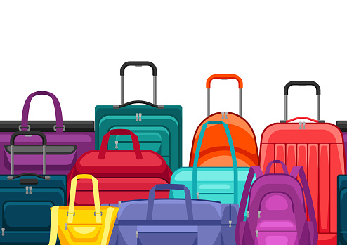 Seamless pattern with travel suitcases and bags.