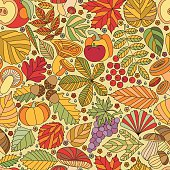 Seamless pattern with tree leaves, mushrooms and vegetables. Various elements for design. Cartoon vector illustration. Colorful  autumn background