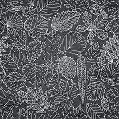 Seamless pattern with tree leaves. Various elements for design. Cartoon vector illustration. Black and white colors. Autumn background