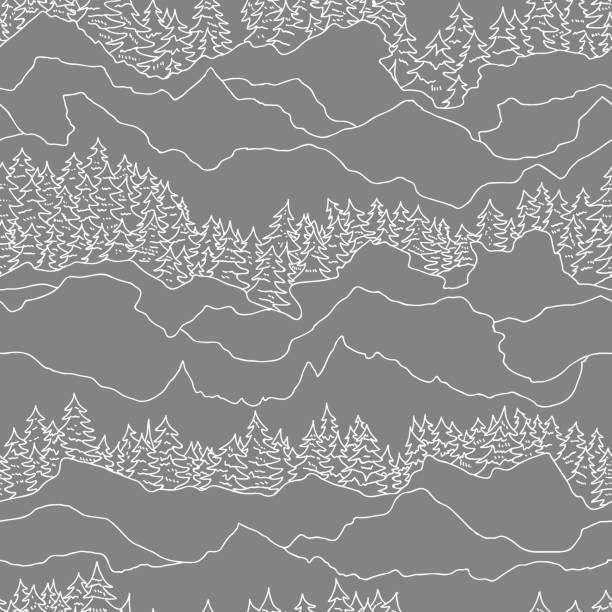 seamless pattern with trees and mountains seamless pattern with trees and mountains adventure drawings stock illustrations