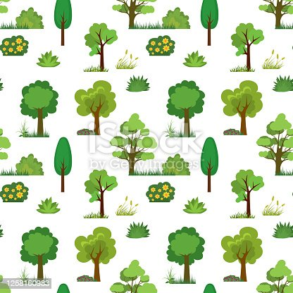istock Seamless pattern with trees,grass and bushes. Cartoon texture with green plants. 1258160983