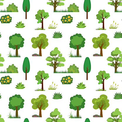 Seamless pattern with trees,grass and bushes. Cartoon texture with green plants.