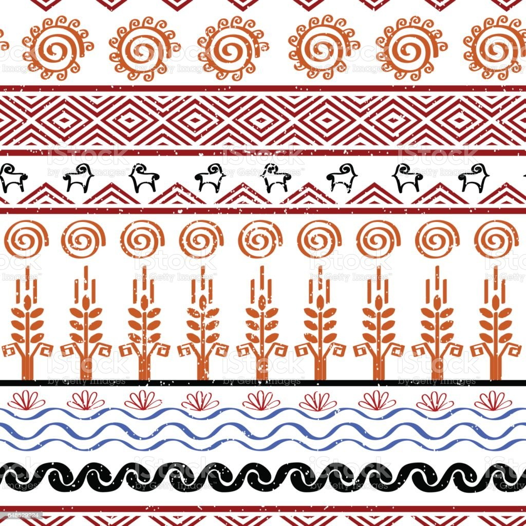 Seamless Pattern With Tribal Cucuteni Culture Symbols Stock Vector