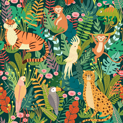 Seamless pattern with tropical animals and bird in jungle