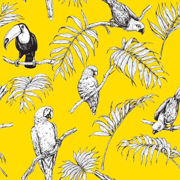 Seamless Pattern with Tropical Birds. Hand drawn seamless pattern with tropical birds and palm fronds on yellow background. Black and white images of parrots and toucan sitting on branches. bird patterns stock illustrations