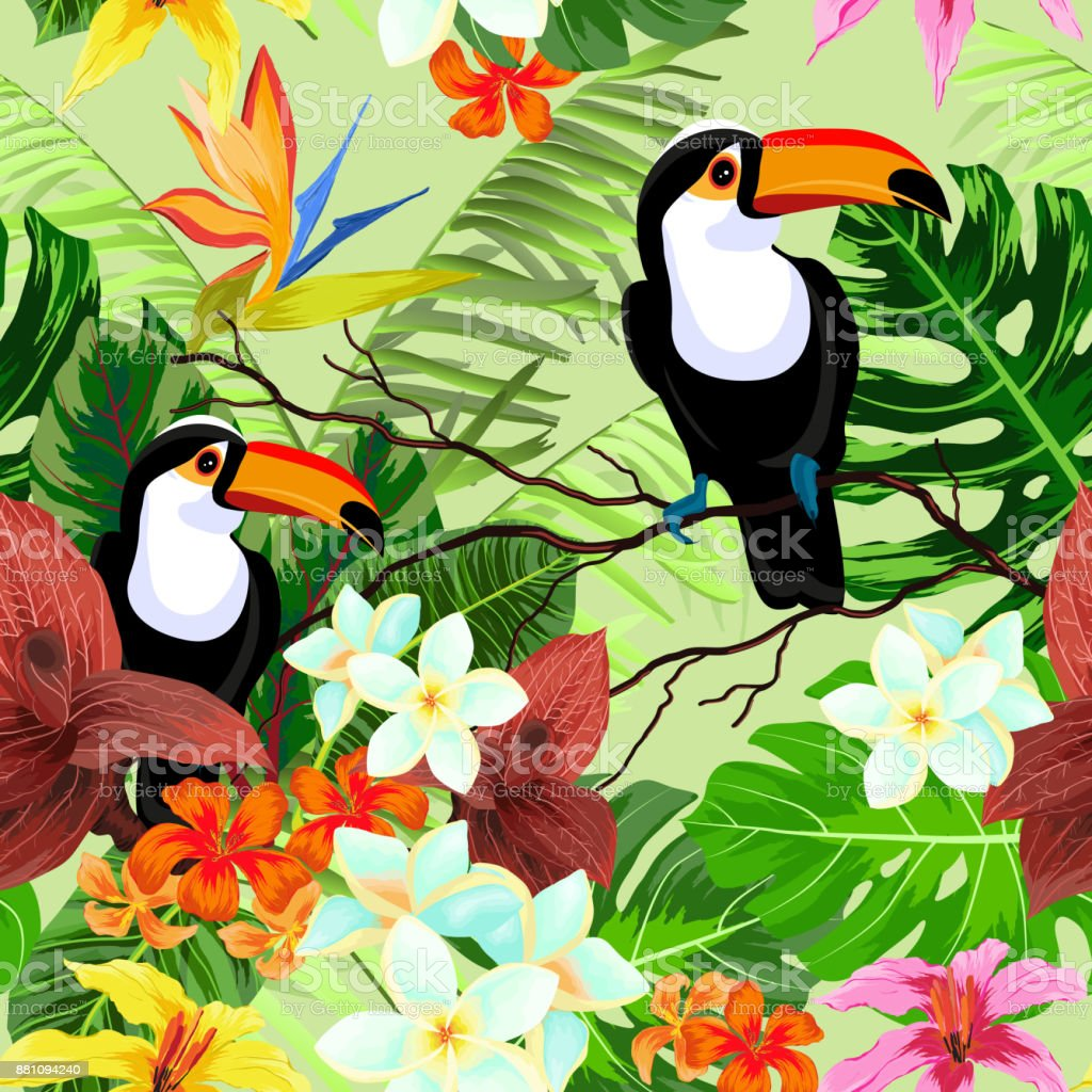 Seamless pattern with tropical flowers and birds vector art illustration