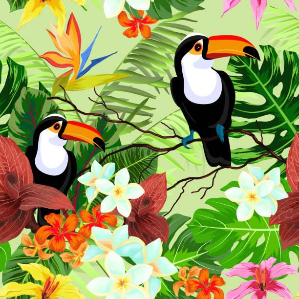 nahtlose muster mit tropischen blumen und vögel - hibiskusgarten stock-grafiken, -clipart, -cartoons und -symbole