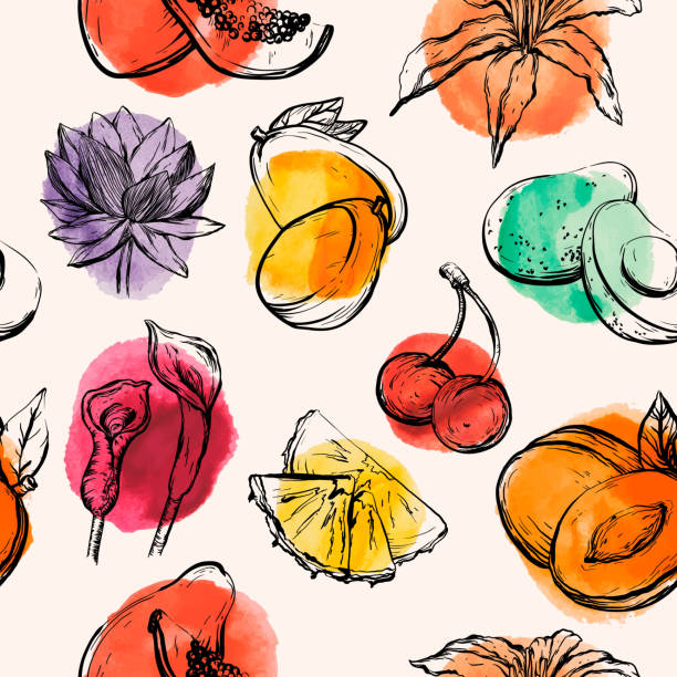 Seamless pattern with Tropical flowersand fruits Seamless pattern with Tropical flowersand fruits, vector illustration avocado patterns stock illustrations