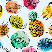 Seamless pattern with Tropical flowersand fruits, vector illustration