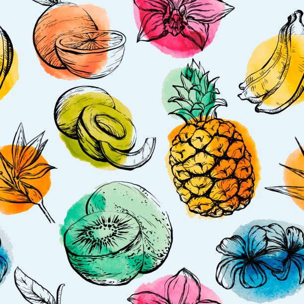 Seamless pattern with Tropical flowersand fruits Seamless pattern with Tropical flowersand fruits, vector illustration banana drawings stock illustrations