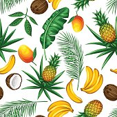 Seamless pattern with tropical fruits and leaves. Background made without