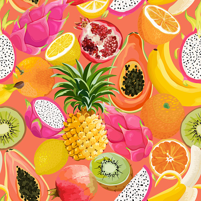 Seamless pattern with tropical fruits. Banana, Orange, Lemon, Pineapple, Dragon fruit background for textile, fashion texture, wallpaper in vector