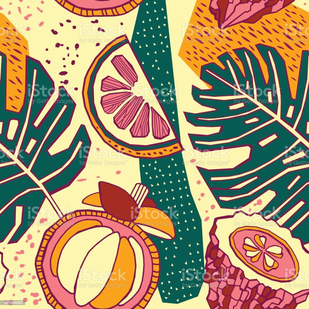 seamless pattern with tropical fruits vector art illustration