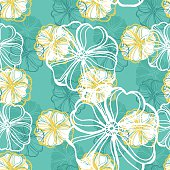 Seamless pattern with tropical Hibiscus flowers.