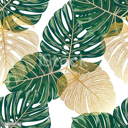 Seamless pattern with tropical leaf palm . Vector illustration. EPS 10