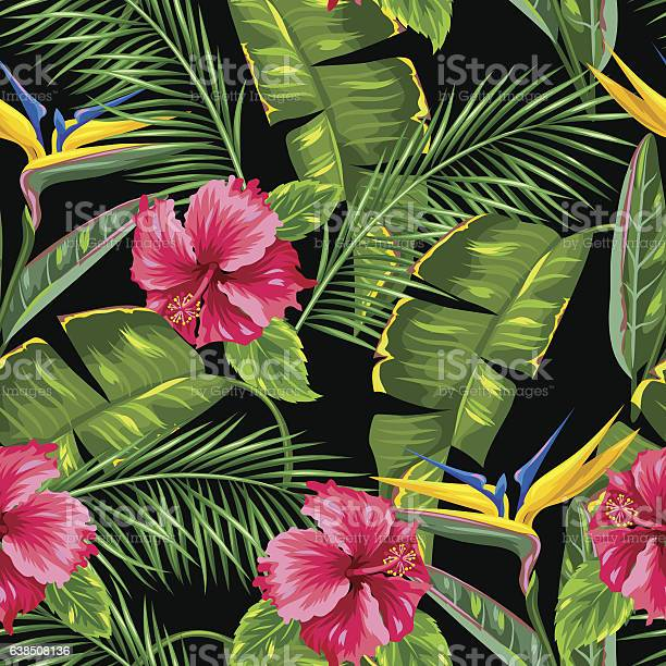 Seamless pattern with tropical leaves and flowers palms branches bird vector id638508136?b=1&k=6&m=638508136&s=612x612&h=nam4tpcmb0c58cqtnhpkrvi8ka1rn fuunx6ylt21fy=