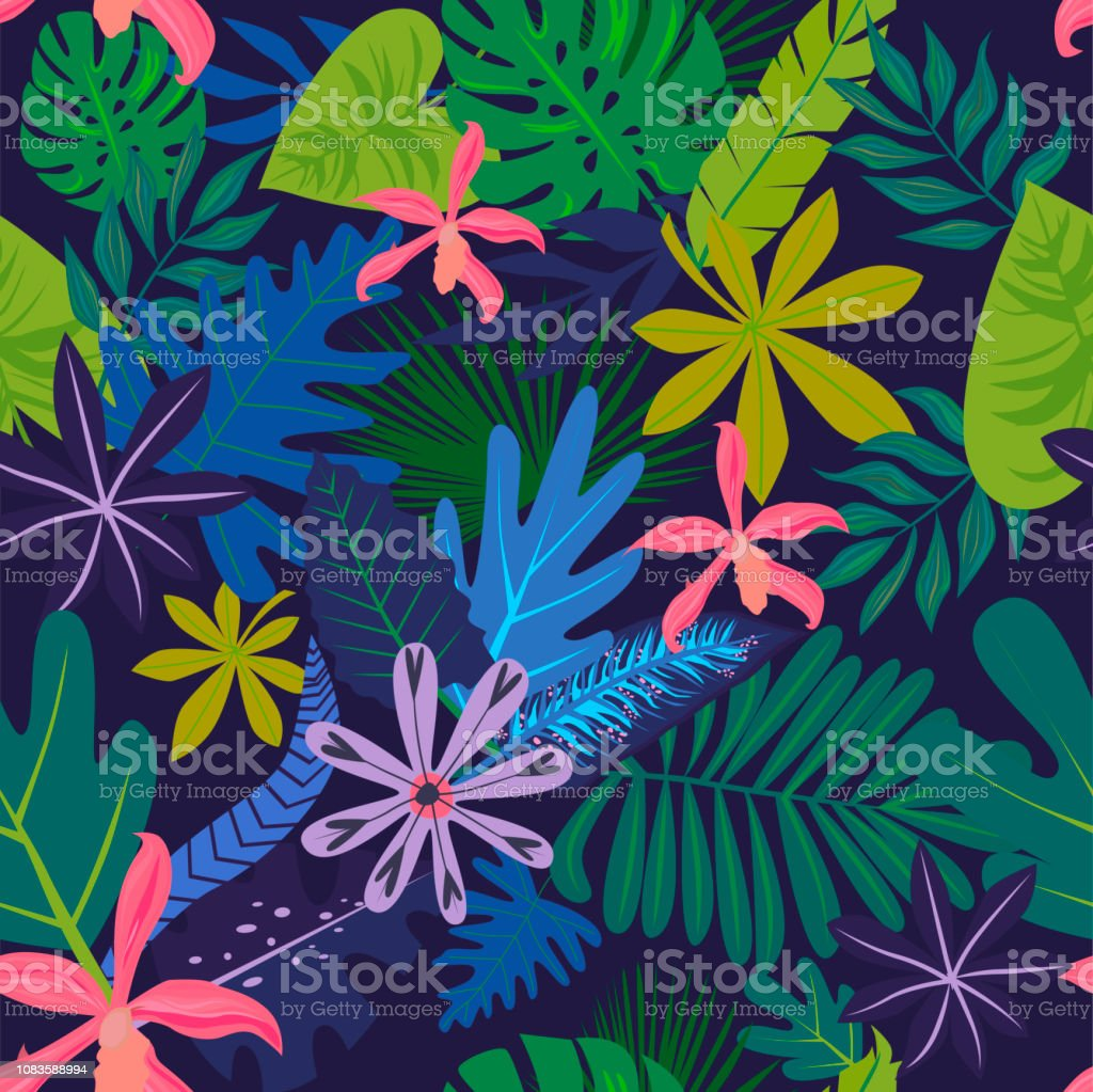 Seamless pattern with tropical leaves and flowers. - Векторная графика Абстрактный роялти-фри