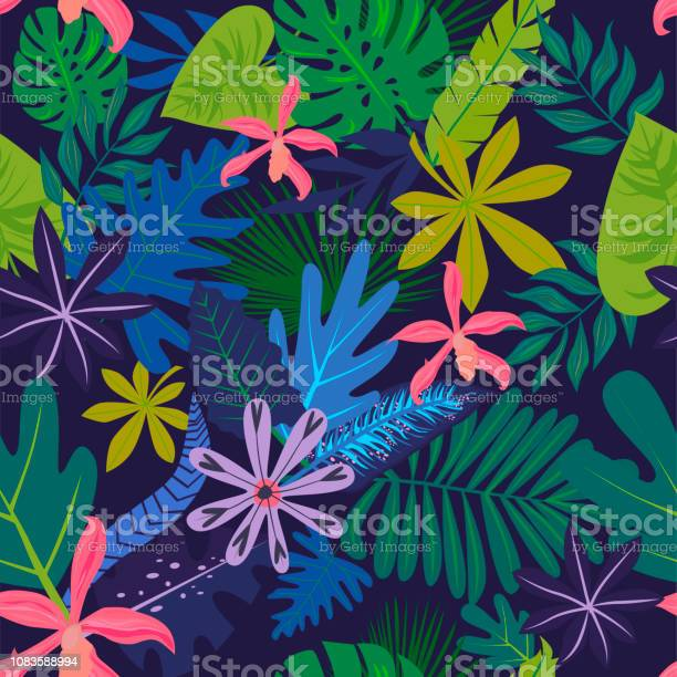 Seamless pattern with tropical leaves and flowers vector id1083588994?b=1&k=6&m=1083588994&s=612x612&h=3pqiqtm4f7f9nvh8gvxad9xsskfpetgf49qttsxlcce=