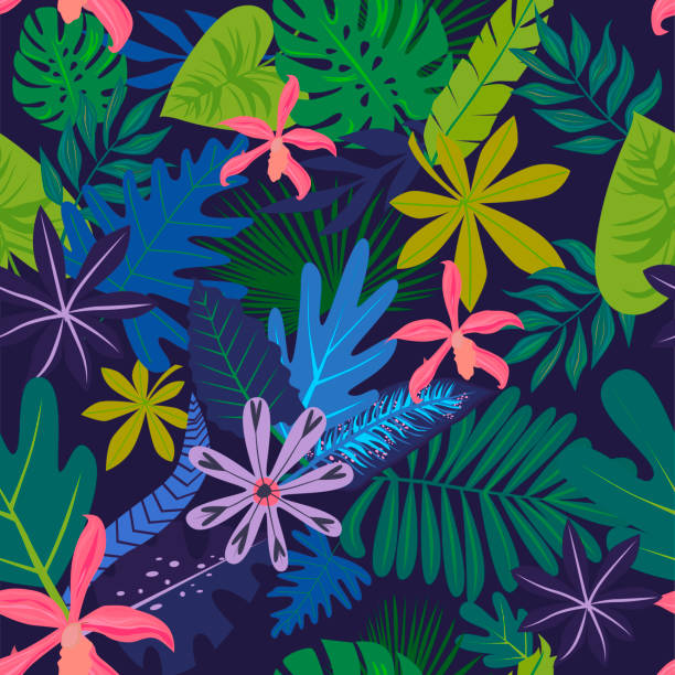 seamless pattern with tropical leaves and flowers. - palm tree stock illustrations