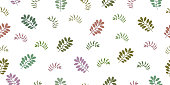 Seamless pattern with tropical leaves and herbs. Isolated elements on a white background.
