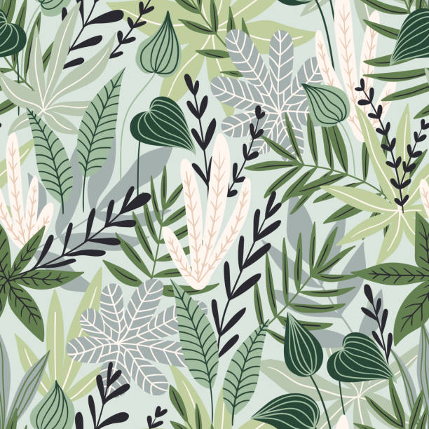 Seamless pattern with tropical leaves. Beautiful print with hand drawn exotic plants. Swimwear botanical design. Vector illustration. Seamless pattern with tropical leaves. Beautiful print with hand drawn exotic plants. Swimwear botanical design. Vector illustration. idyllic stock illustrations