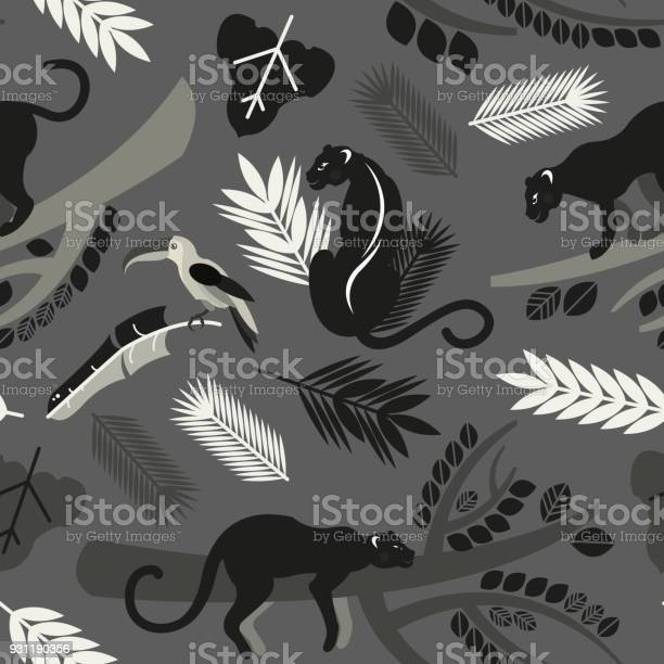 Seamless pattern with tropical leaves branches of trees jaguars and vector id931190356?b=1&k=6&m=931190356&s=612x612&h=ia7emhdpvla3u3a8qt5j4ioqvhurrim1r6j9g1rzmsu=