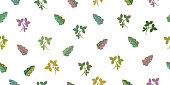 Seamless pattern with tropical leaves. Isolated elements on a white background.