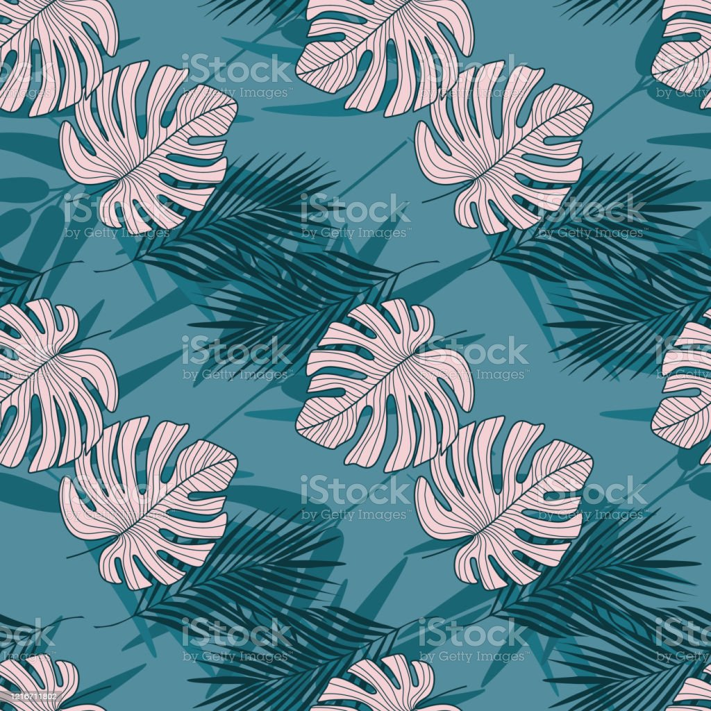 Seamless Pattern With Tropical Leaves On Blue Background Trendy Botanical Leaf Wallpaper Stock Illustration Download Image Now Istock Search for more beautiful pictures and free images on picjumbo! seamless pattern with tropical leaves on blue background trendy botanical leaf wallpaper stock illustration download image now istock