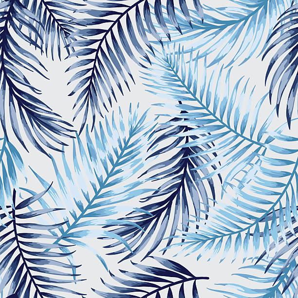 ilustrações, clipart, desenhos animados e ícones de sem costura padrão com folhas tropical. - coqueiro